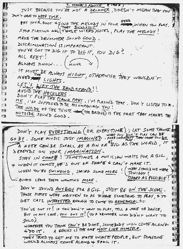 Thelonius Monk's advice